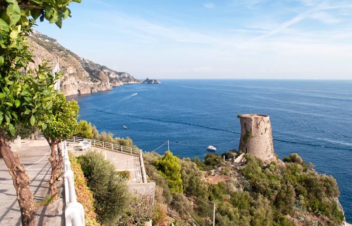 Saracen towers on the Amalfi Coast, Italy