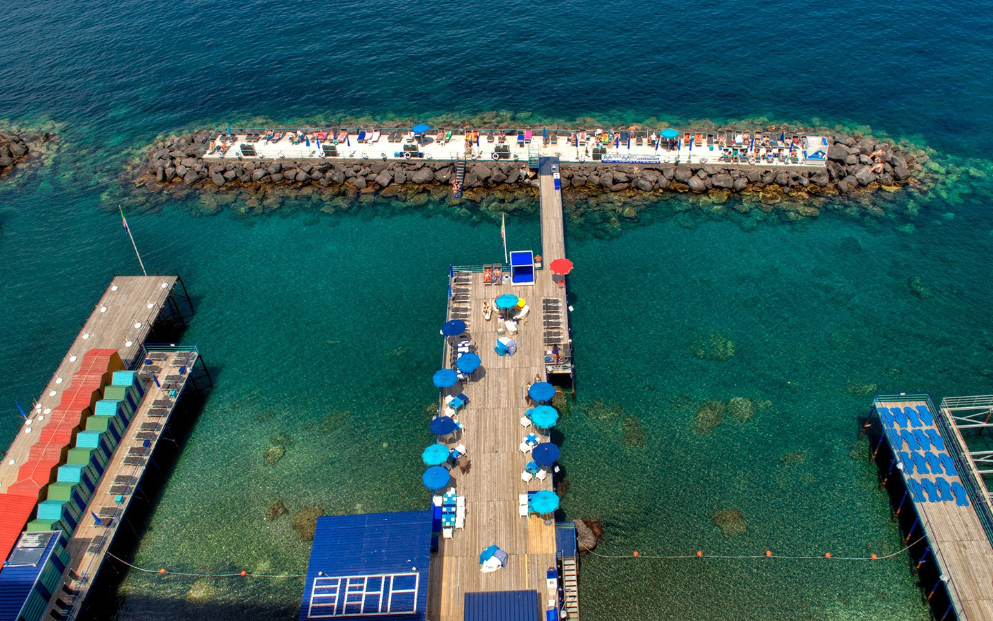 Sunbathing on the pier, one of the best things to do in Sorrento