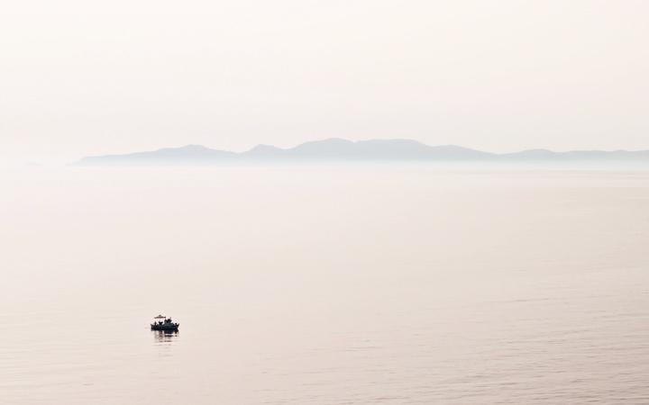 Sailing out of Santorini