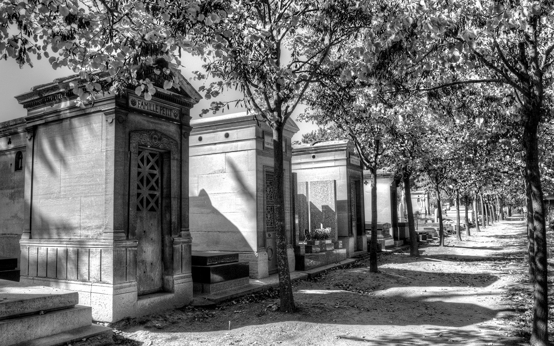 Ornate tombs in the Montparnasse cemetery, Paris