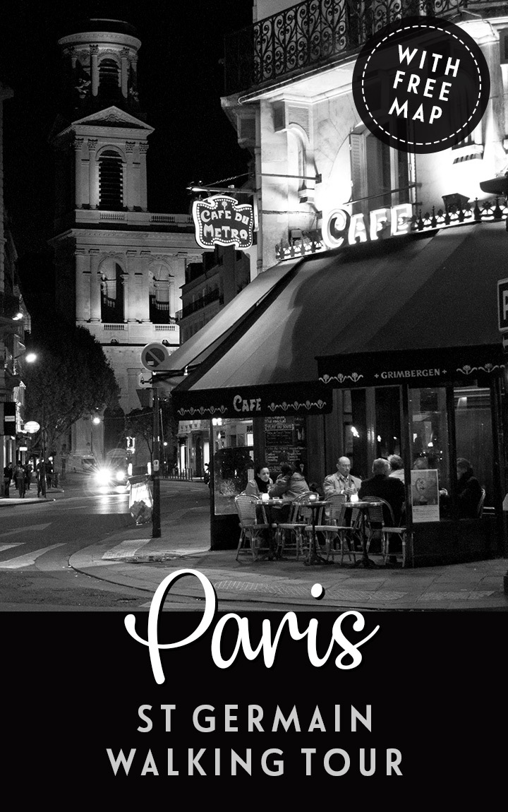 A self-guided St Germain walking tour of Paris, visiting cafés, churches and parks in the city's intellectual and bohemian neighbourhood – map included. #Paris #walk #France #StGermain