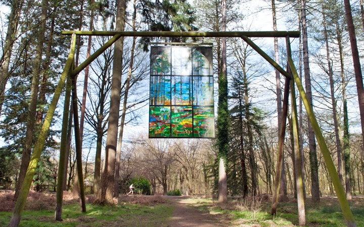 Stained glass window at the Scultpure Trail