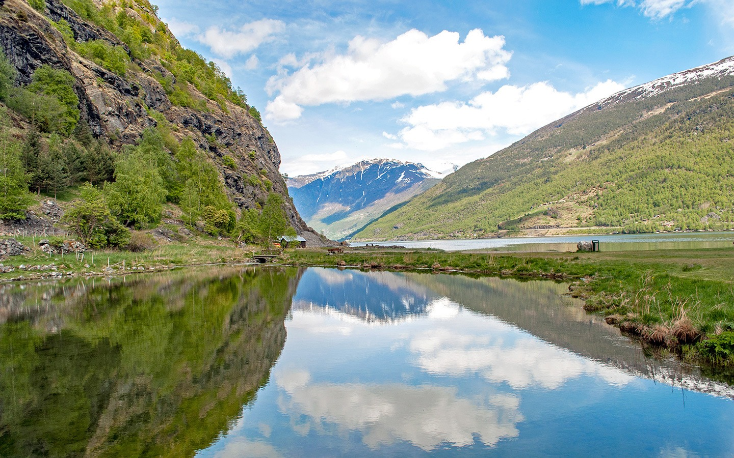 Reflections of the fjords in Flam, Norway