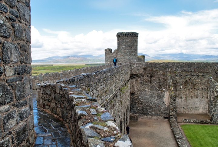Harlech Castle's ancient walls, North Wales