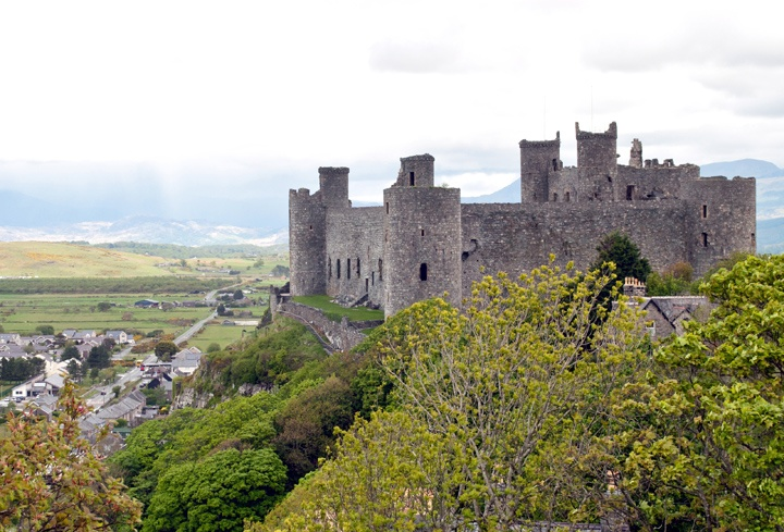 Harlech Castle, set on a hill overlooking the sea in North Wales