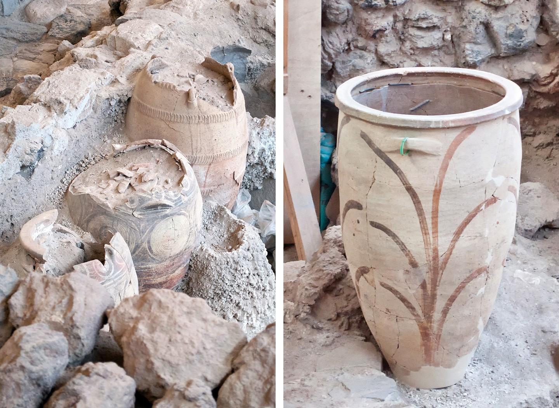 Minoan pottery from the buried city of Akrotiri Santorini