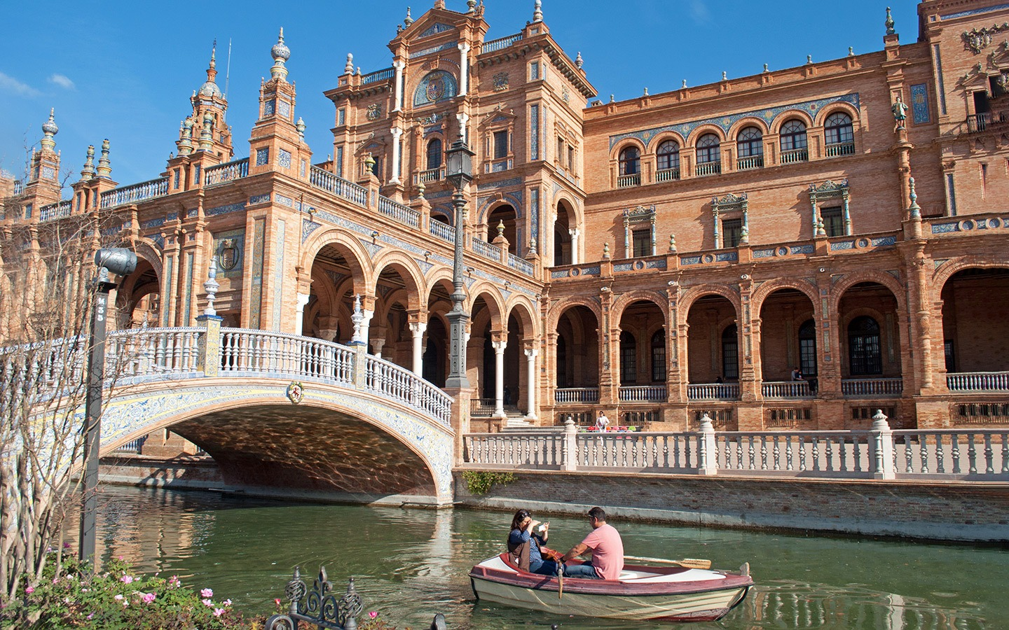 Boat in the moat of the Plaza de España