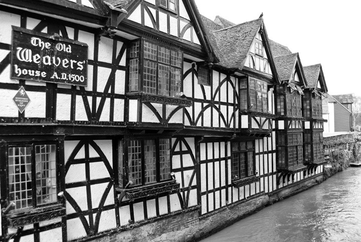 The black and white Old Weavers' House