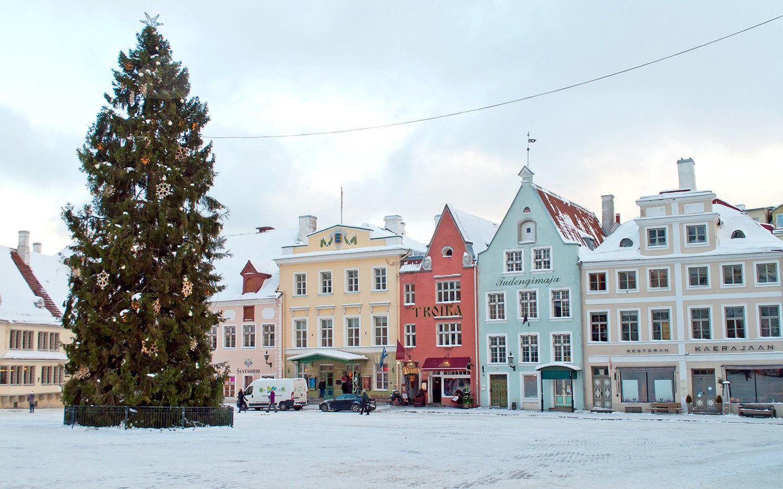 Snowy old town square in Tallinn Estonia