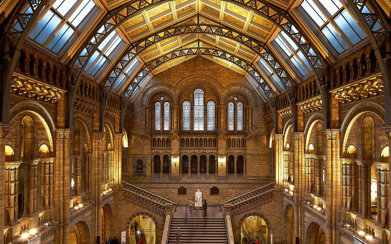 The main hall at the Natural History Museum, London