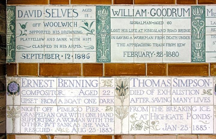 Memorial plaques at Postman's Park in London