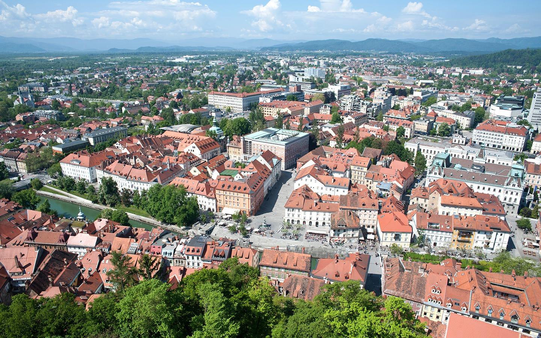 Views across Ljubljana from its hilltop castle