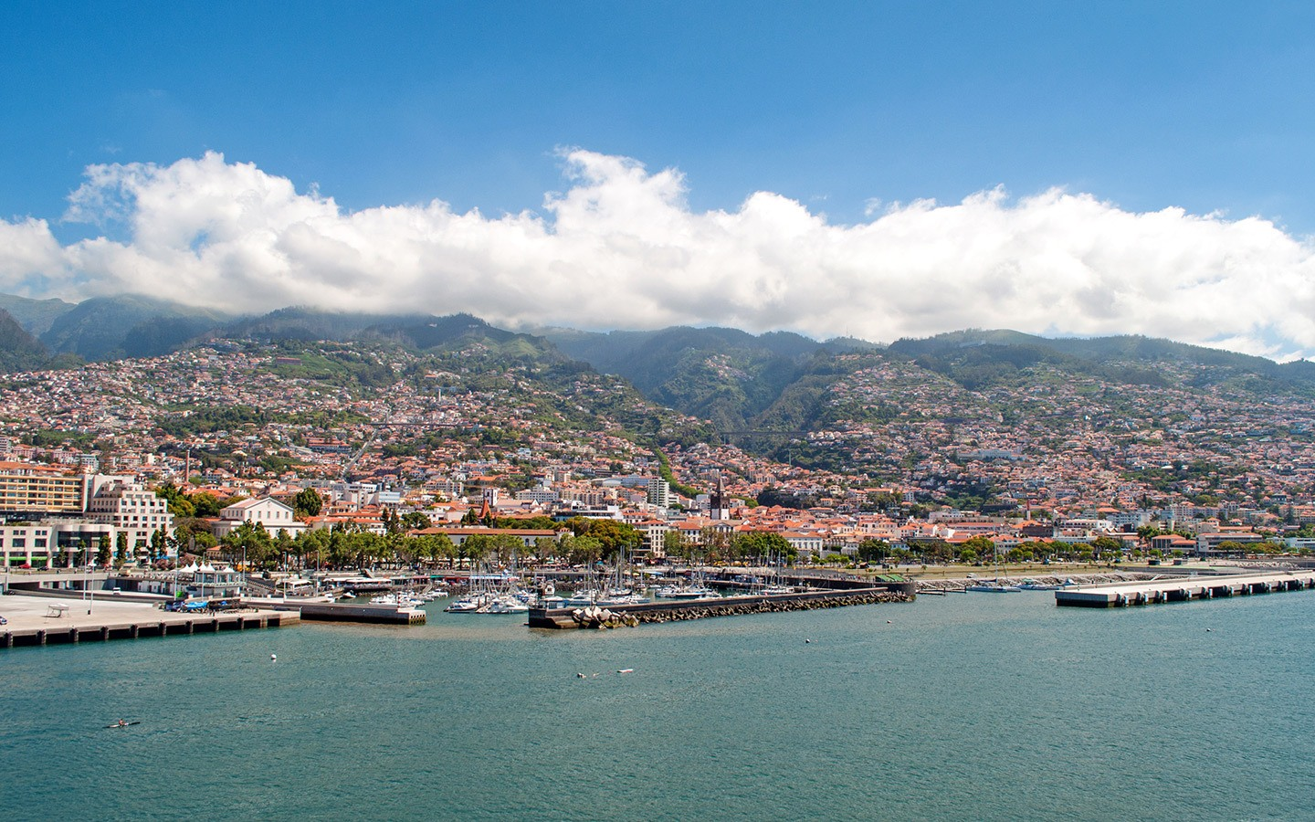 Sailing out of Madeira harbour on a P&O cruise