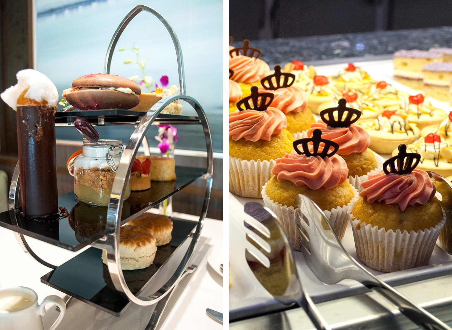 Afternoon tea in the Epicurian and the buffet on board P&O Cruises Britannia