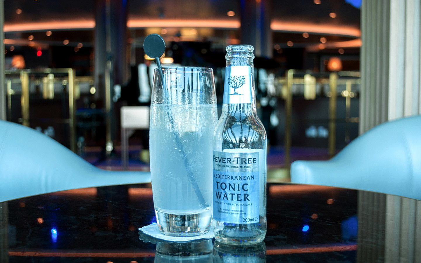 Gin and tonic in the Crow's Nest bar on board P&O Britannia