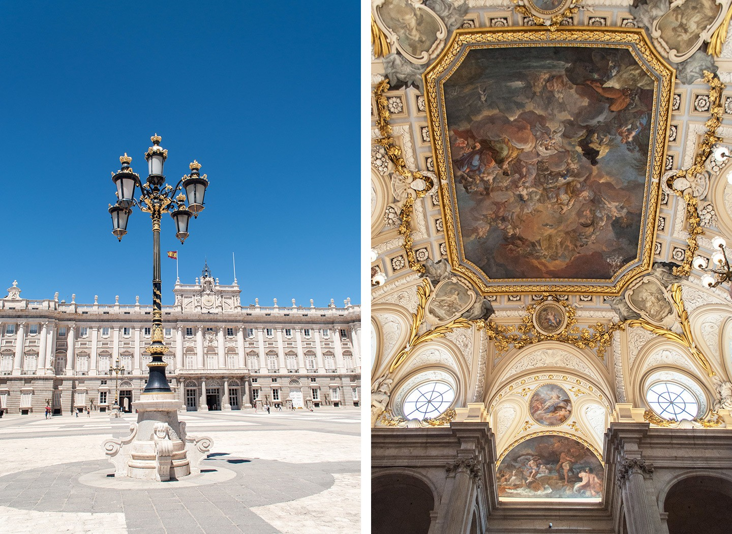 Inside and outside the Palacio Real, Madrid