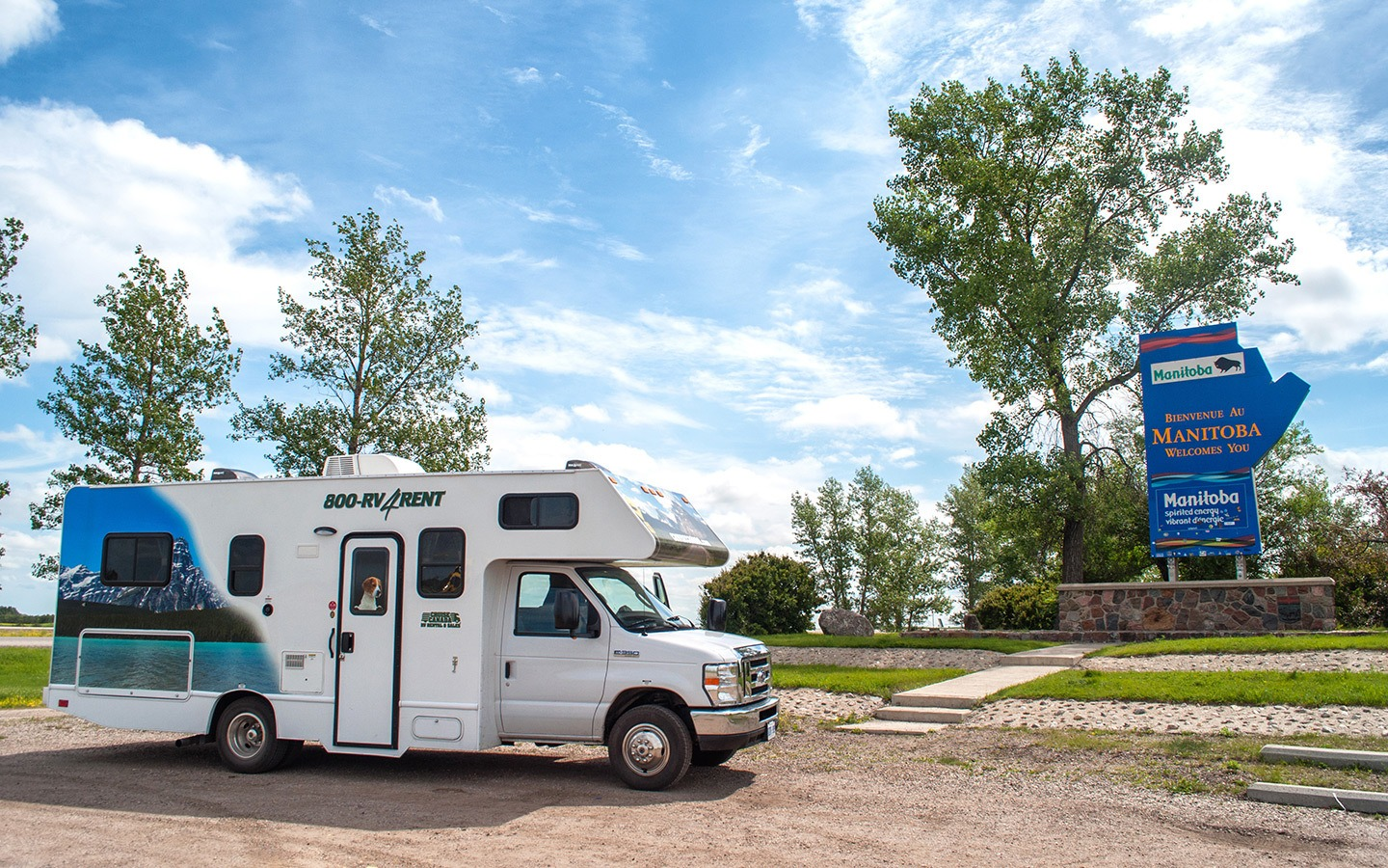 Crossing the Manitoba provincial line in an RV