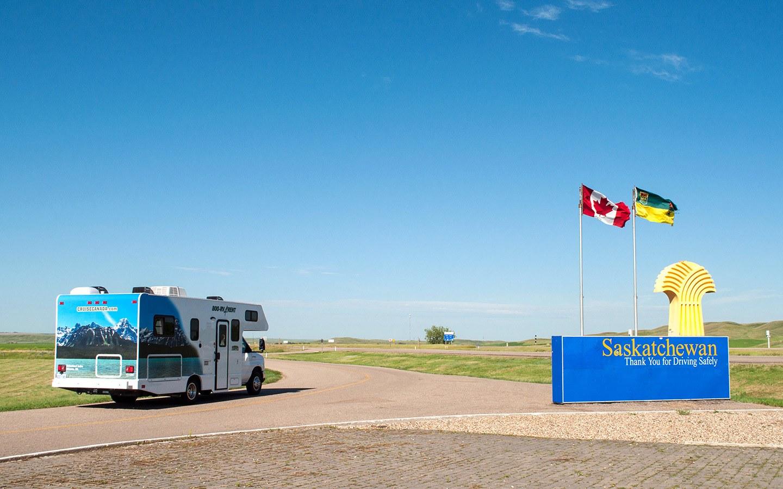 RV on Highway 1 in Canada crossing over into Saskatchewan