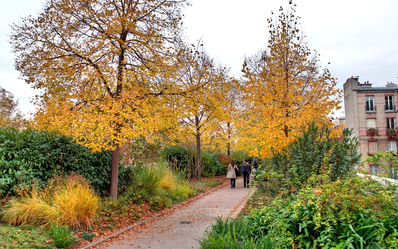 Autumn on the Promenade Plantee park in Paris