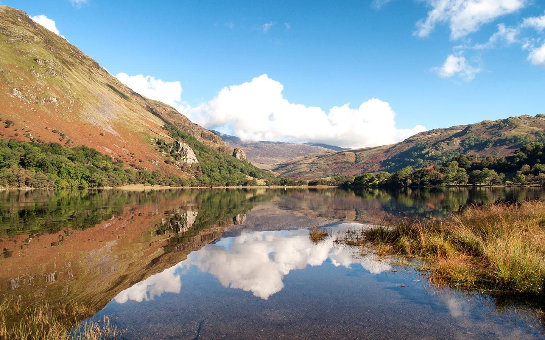 Reflections at Llyn Gwynant lake in North Wales