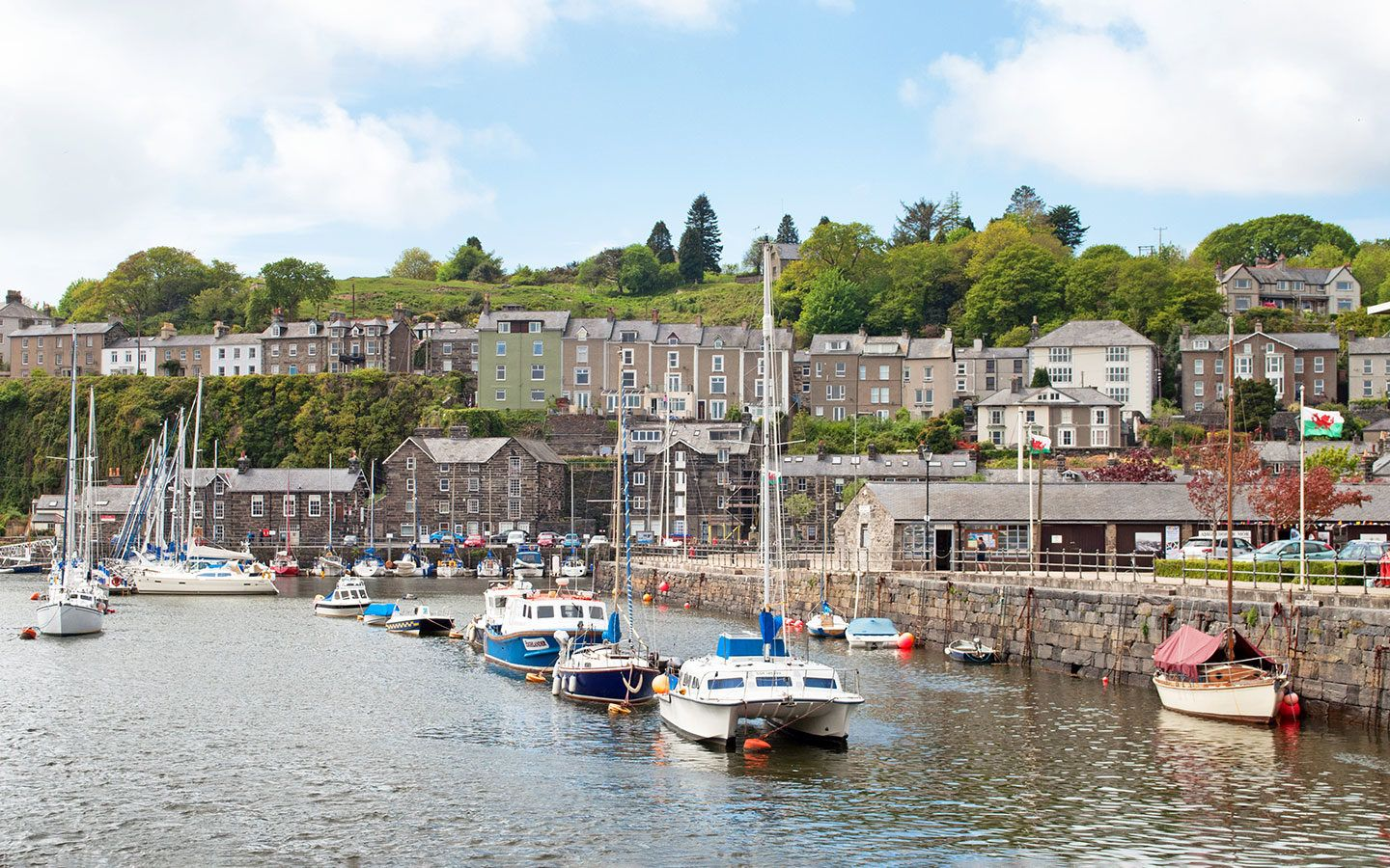 Boats in Porthmadog harbour in North Wales