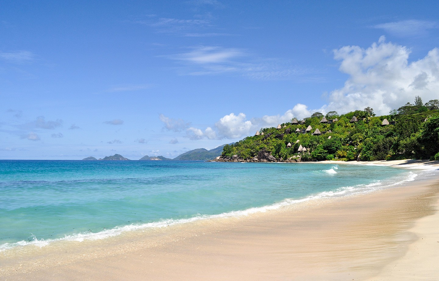 Golden sands at Anse Louis beach in the Seychelles