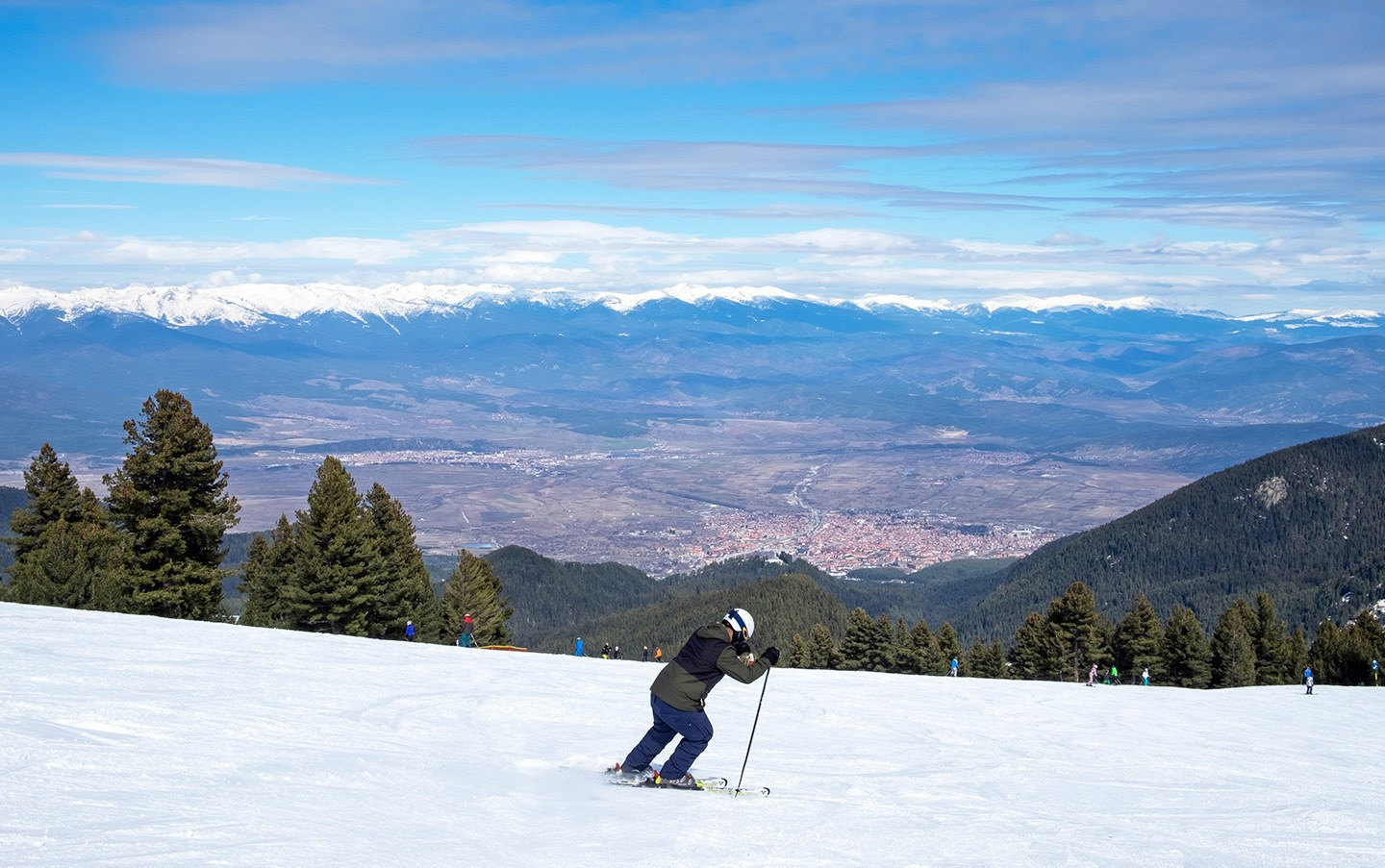 Overlooking Bansko town from the piste