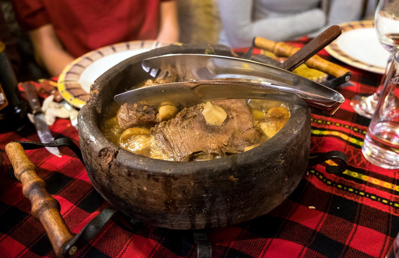 Traditional Bulgarian food at a mehana