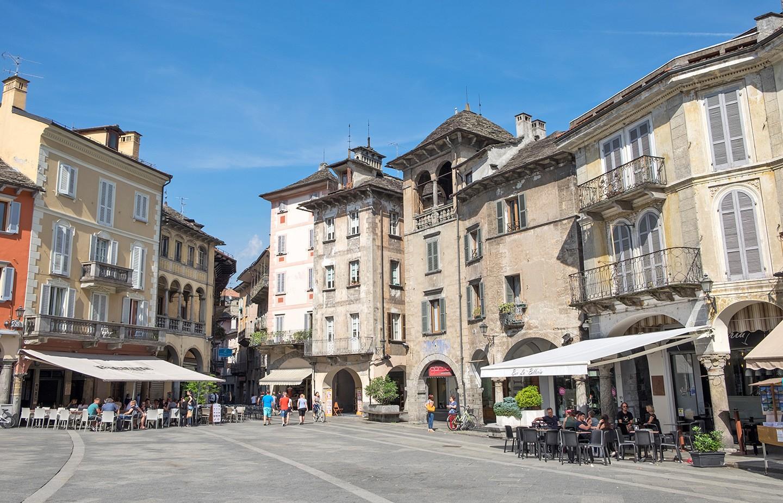 Central square in Domodossola, Italy