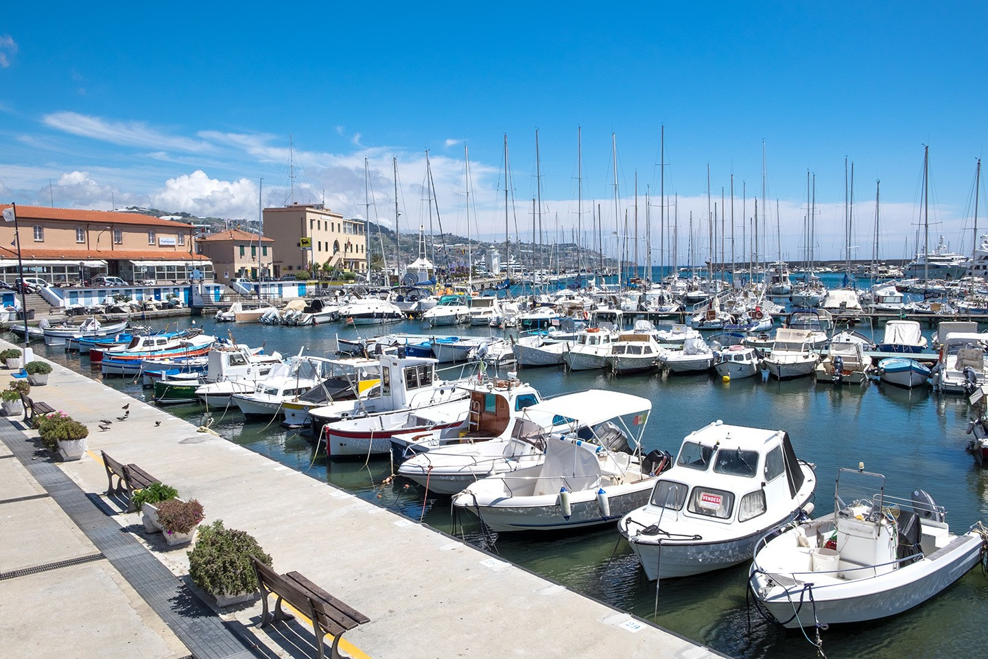 Boats in the harbour in San Remo on the Italian Riveira