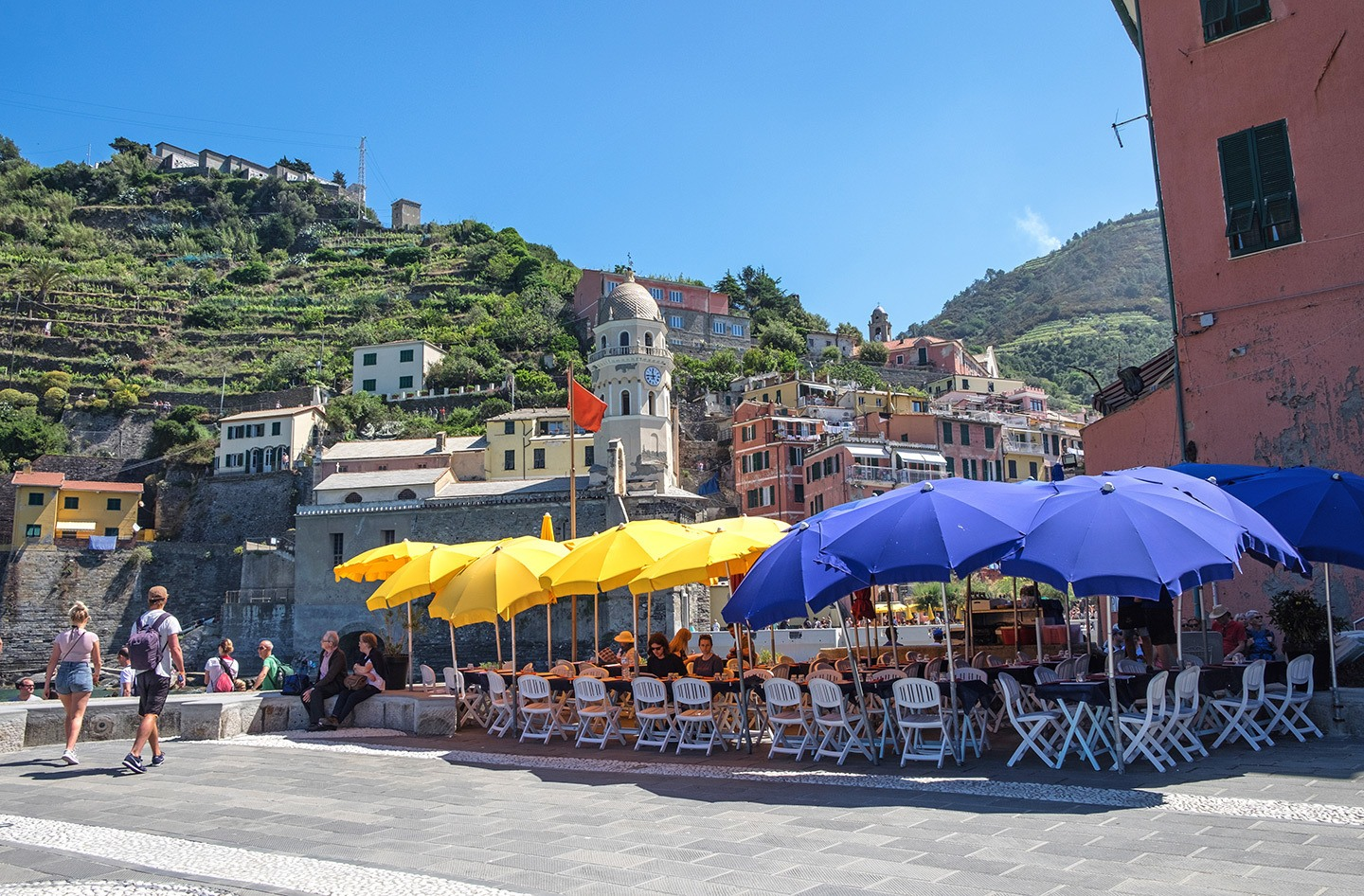 Sunny lunch at a Plaza in Vernazza, Cinque Terre