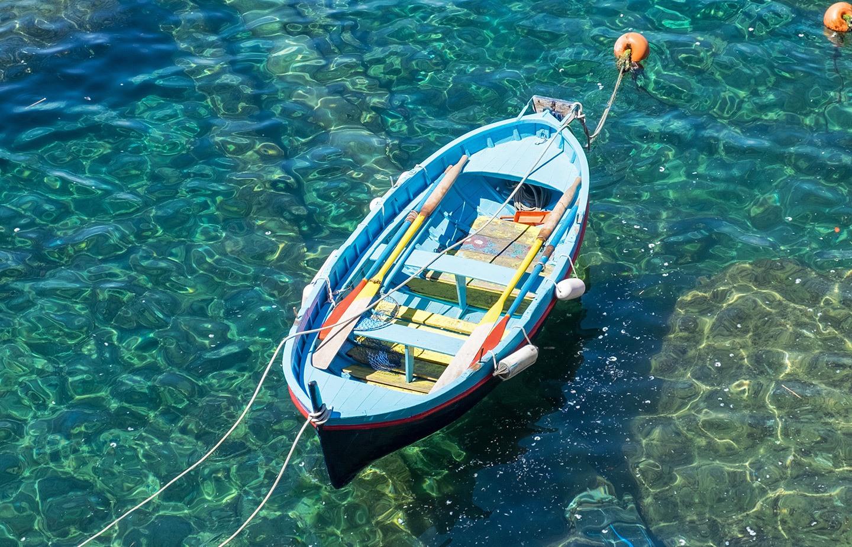 Rowing boat in the Cinque Terre, Italy