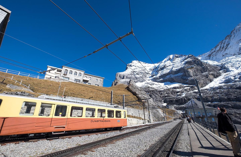 The Jungfraubahn scenic train in Switzerland