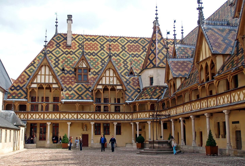 The Hôtel Dieu des Hospices de Beaune, Beaune in Burgundy
