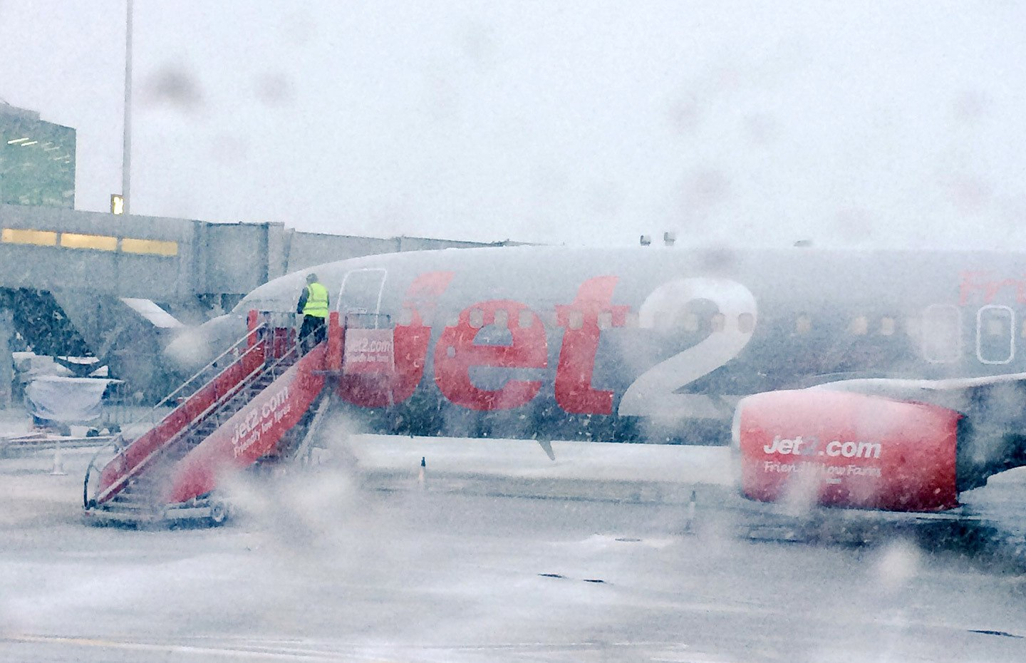 Jet2 plane on the runway in the snow