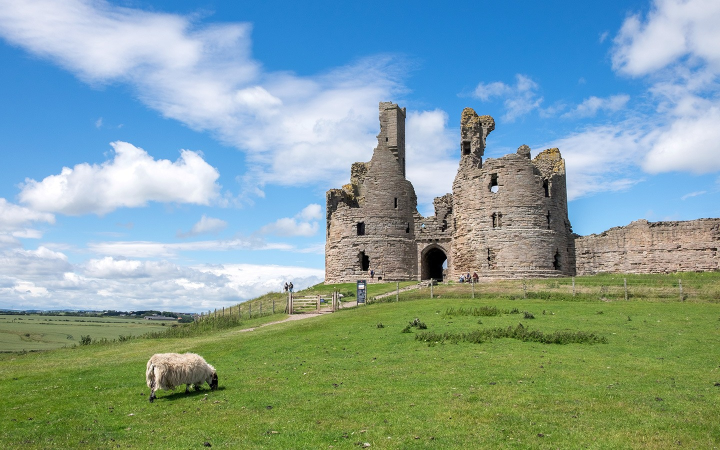 Dunstanburgh Castle in Northumberland, England