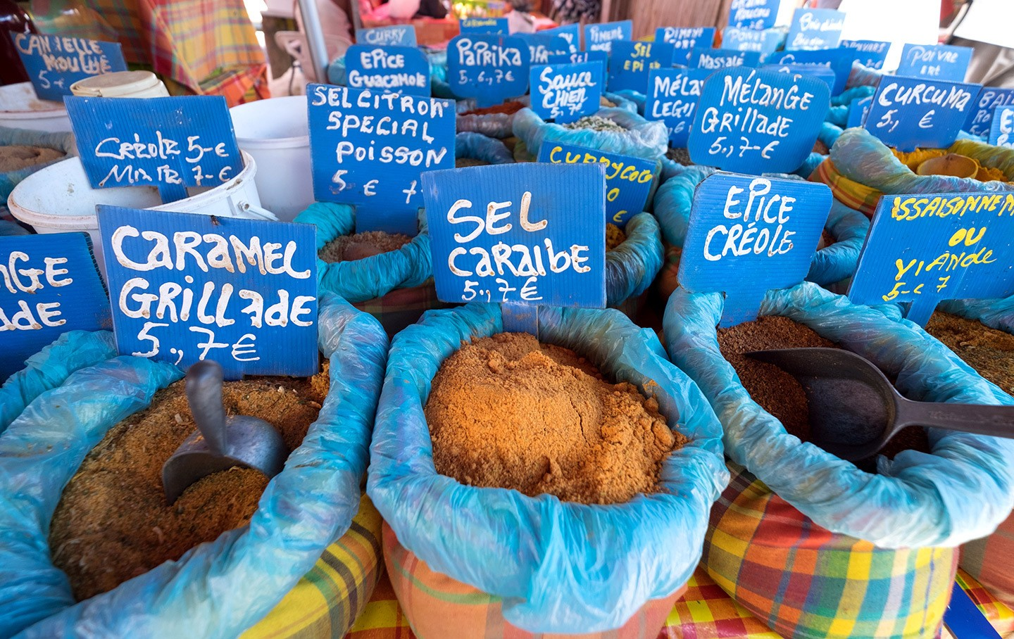 Spices in the market at Sainte-Anne, Guadeloupe