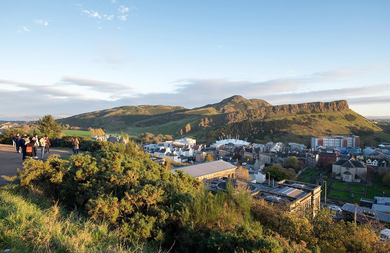Views of Arthur's Seat Edinburgh from Calton Hill