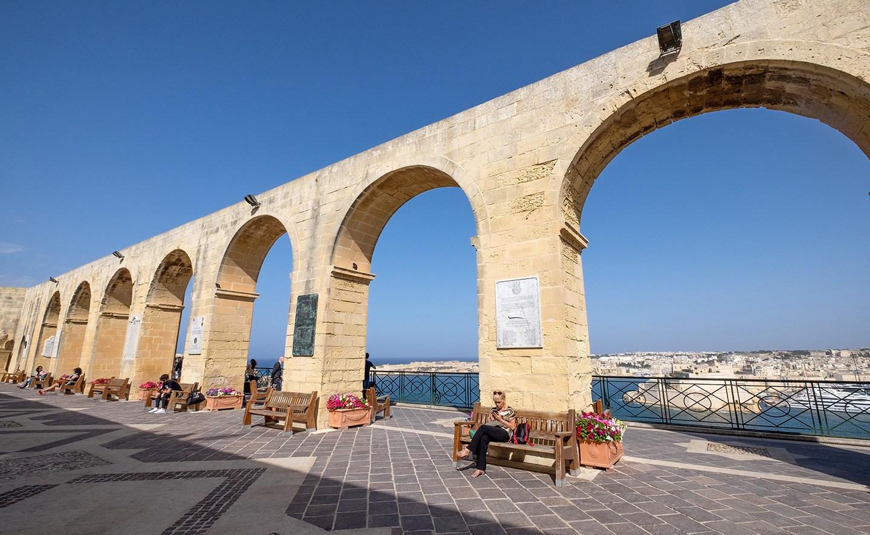 The Upper Barrakka Gardens in Valletta, Malta