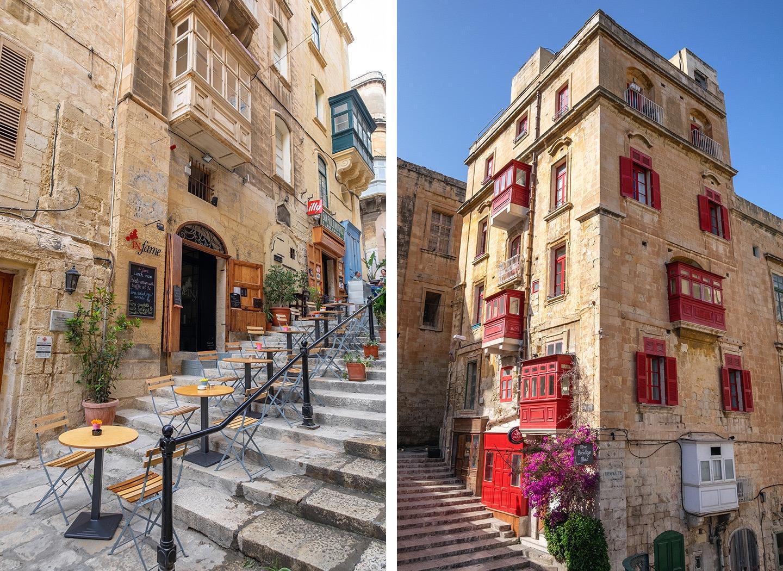 Backstreets and balconies in Valletta, Malta