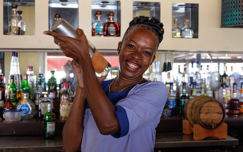 Cocktail making at the Cliff Bar, Cap Maison, Saint Lucia