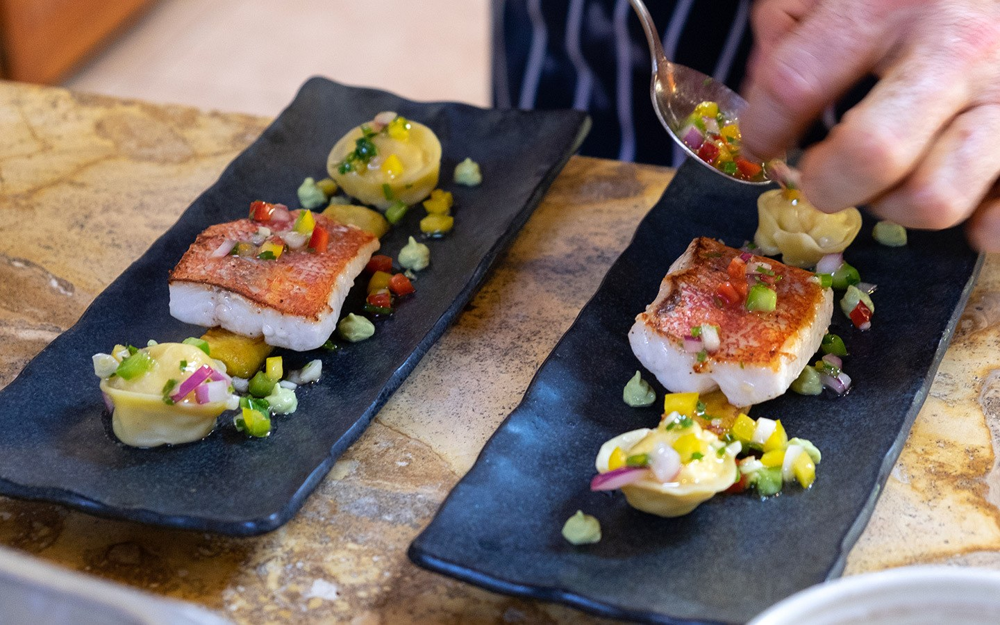 High-end Caribbean food at the Cap Maison hotel in Saint Lucia