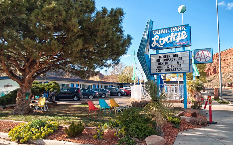 The vintage style Quail Park Lodge motel in Kanab, Utah