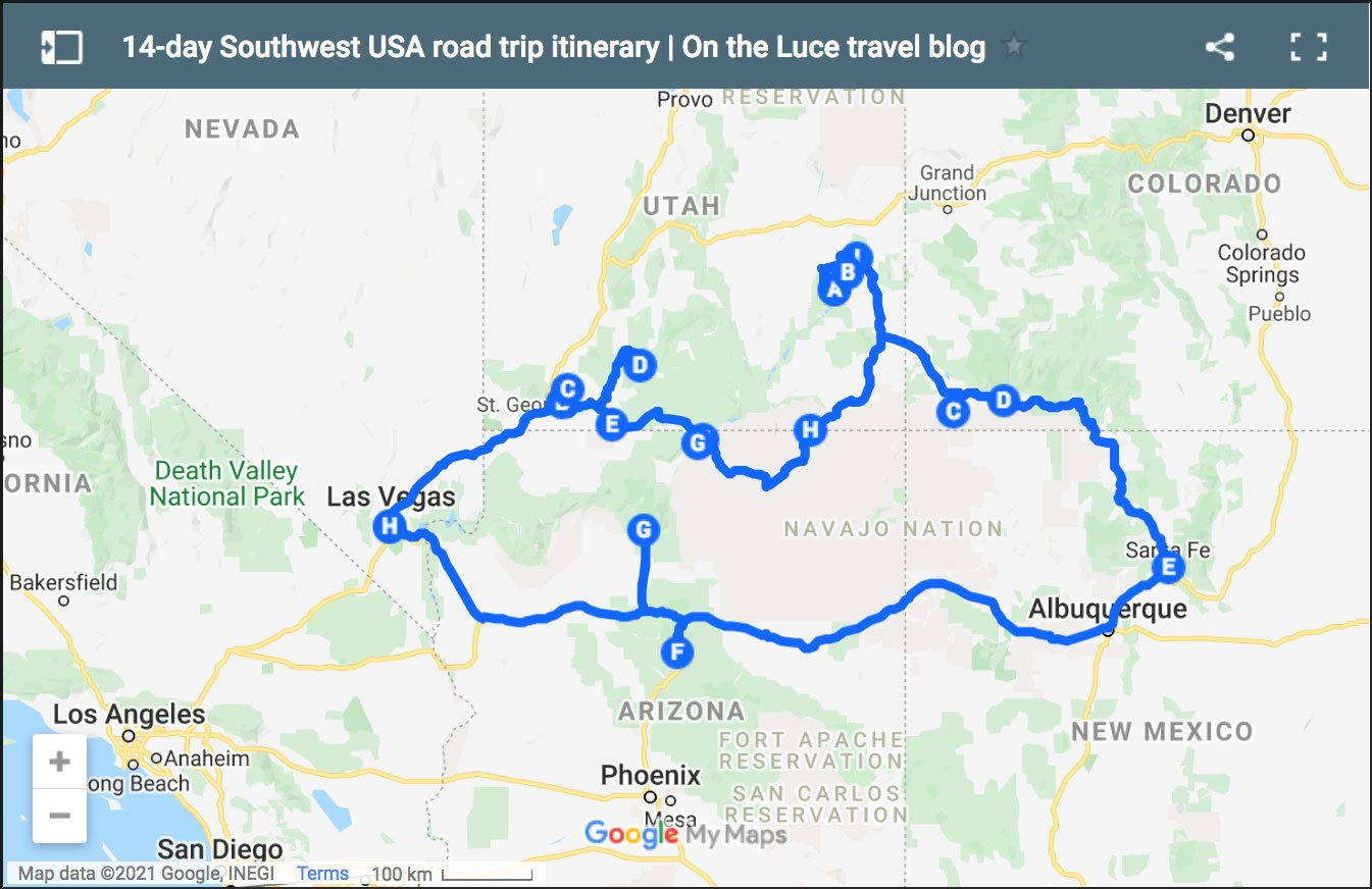 Two-week Southwest USA road trip itinerary map
