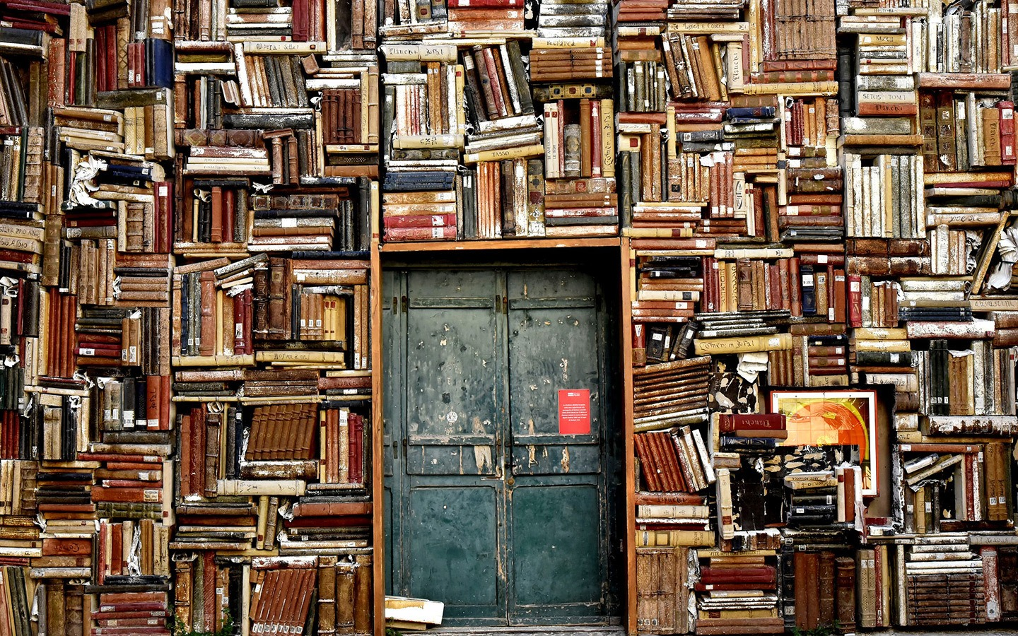 Door made from books for travellers