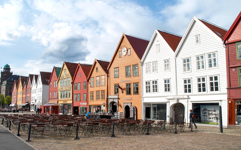Historic buildings in Bryggen, Bergen, Norway