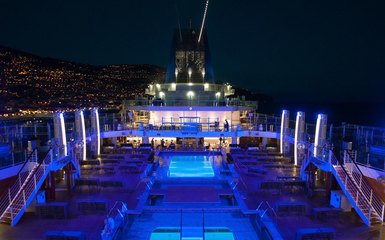 P&O cruise ship at night