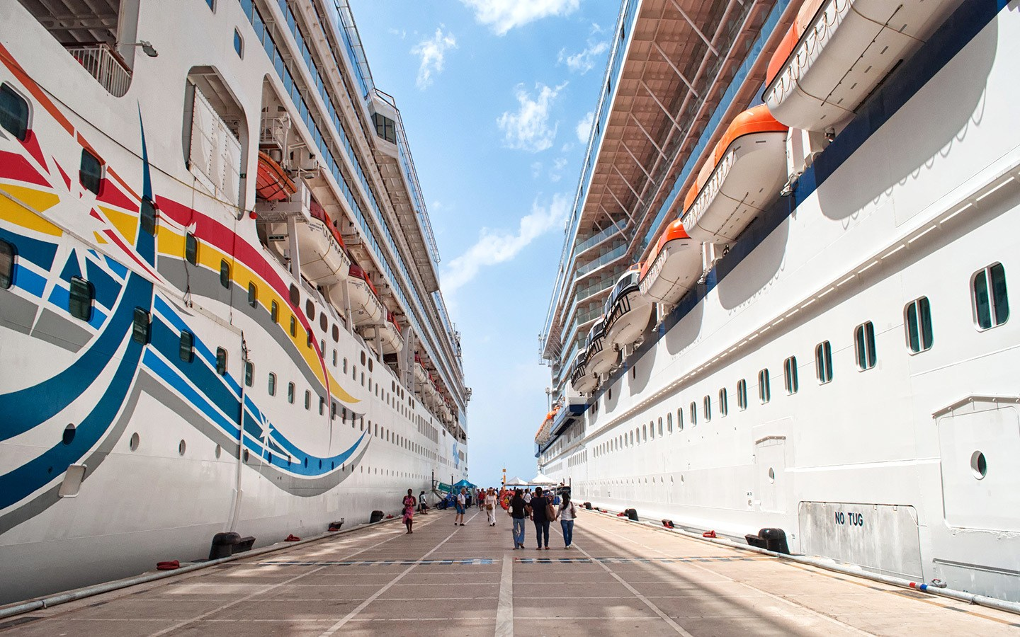 Two cruise ships in dock