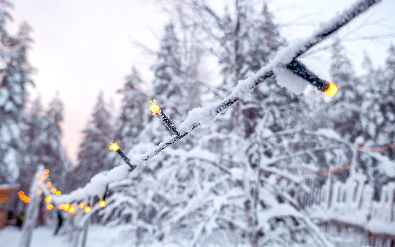 Christmas lights in Santa Claus Village Rovaniemi, Finland