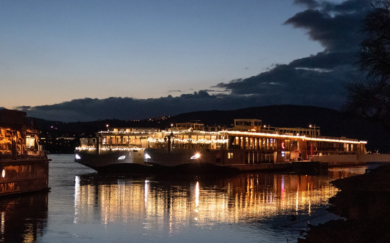 River cruise ships docked at night